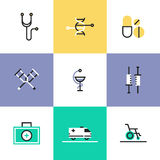 Medical and healthcare pictogram icons set. First aid kit and medical equipment, DNA genome structure, biotechnology research, rehabilitation support. Unusual Royalty Free Stock Images