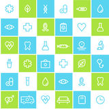 Medical and Healthcare Seamless Lined Icons Background Stock Photos