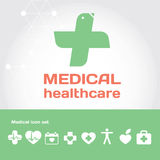 Medical healthcare sign with icon set. Modern illustration and design element set stock illustration