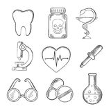 Medical and healthcare sketched icons Royalty Free Stock Photography