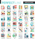 Medical and healthcare vector complex flat icon concept symbols for web infographic design. Stock Images