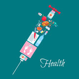 Medical healthcare vector syringe poster Royalty Free Stock Image