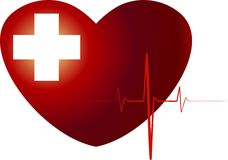Medical heart. Red heart with white cross Royalty Free Stock Image