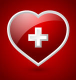 Medical heart icon. Red medical heart icon with white cross  on bloody background Royalty Free Stock Image