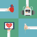 Medical heart therapy flat design set Stock Photography