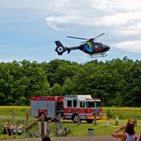 Medical Helecopter Flies in for Transport Stock Photo