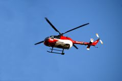 Medical helicopter. German Notarzt is flying to the place where help is needed Royalty Free Stock Photography