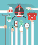 Medical helicopter flat design card with hand Stock Image