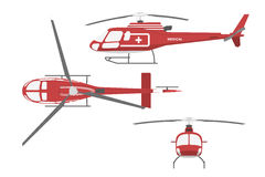 Medical helicopter in flat style on white background. Front view Royalty Free Stock Photography