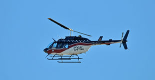 Medical helicopter in flight Stock Image
