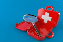 Medical help. Isolated on blue background. 3d illustration Royalty Free Stock Photos