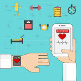 Medical and helth care application Concept with smart watch and Royalty Free Stock Photos