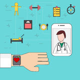 Medical and helth care application Concept with smart watch and Stock Photos