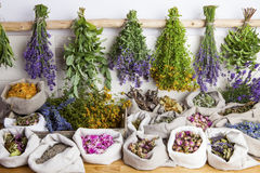 Medical herbs. Healing medical herbs in a linen sacks royalty free stock photo
