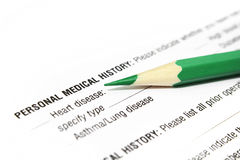 Medical history. Insurance form about medical history Stock Image