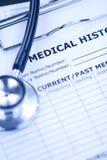 Medical History and Black Stethoscope. In Blue White-balance stock image