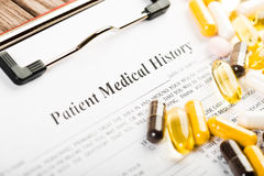 Medical history document Royalty Free Stock Images