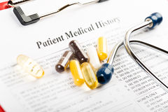 Medical history document Royalty Free Stock Photography