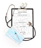 Medical history form on clipboard with stethoscope isolated Stock Images