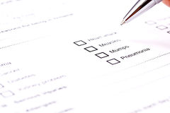 Medical history questionaire Stock Photos