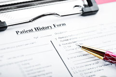 Medical history questionnaire Stock Images