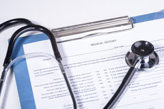 Medical history questionnaire. Photo of Medical history questionnaire Stock Photo