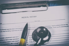 Medical history questionnaire. Photo of Medical history questionnaire Royalty Free Stock Photos