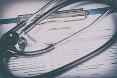 Medical history questionnaire. Photo of Medical history questionnaire Royalty Free Stock Image