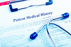 Medical history with stethoscope Royalty Free Stock Image