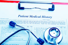 Medical history with stethoscope Royalty Free Stock Images