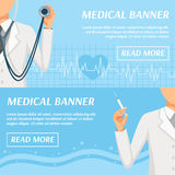 Medical Horizontal Banners Webpage Design. Health care medical banners webpage design with general practitioner doctor and heart rate symbol  vector illustration Stock Photos