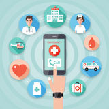 Medical and hospital icons. Making an emergency call to the hospital on smart phone with doctor, nurse and medical flat design icon set Royalty Free Stock Image