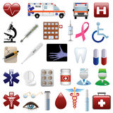 Medical and hospital icons set. For web design Stock Photography