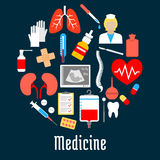 Medical and hospital icons in a shape of a circle Royalty Free Stock Images