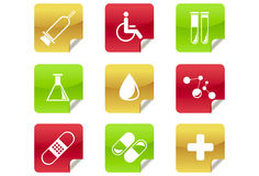 Medical and Hospital Icons / Symbols. A set of 9 internet icons and buttons Royalty Free Stock Photos