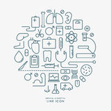 Medical and hospital line icons infographic Royalty Free Stock Images