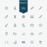 25 medical and hospital minimal outline icons Royalty Free Stock Photos