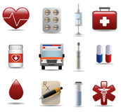 Medical and hospital shiny icons set. For web design vector illustration