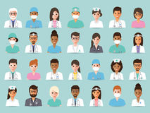 Medical and hospital staff avatars. Group of doctors and nurses and medical staff people. Flat design people character set Royalty Free Stock Image