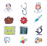 Medical and hospital symbols and icons Stock Photo