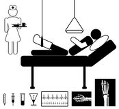 Medical icon. Patient in hospital with nurse, medical  icon set Stock Photography
