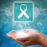 Medical icon Aids ribbon in hand Royalty Free Stock Photography