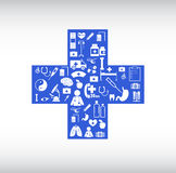 Medical Icon by Cross Shape Stock Image