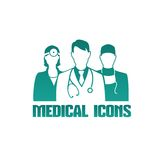 Medical icon with different doctors Stock Photo