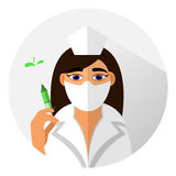Medical icon flat design style. Doctor girl in a protective mask with a syringe in his hand. vector Royalty Free Stock Photography