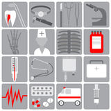 Medical icon in the flat style,set medical icons, flat design, gray with red. Icons on the medical theme, white, gray, red, flat design, retro style striped Royalty Free Stock Photo