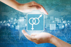 Male and female symbol in hand Stock Image