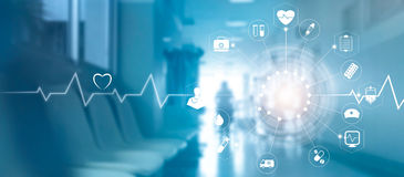 Medical icon network connection with modern virtual screen inter Royalty Free Stock Images
