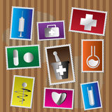 Medical Icon - postage stamp. Medical vector icon set- postage stamp Royalty Free Stock Photo
