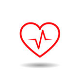 Medical icon. Red lined heart with beat, pulse inside Stock Photos